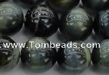 CTE1453 15.5 inches 10mm round golden & blue tiger eye beads