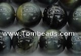 CTE1454 15.5 inches 12mm round golden & blue tiger eye beads