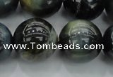 CTE1457 15.5 inches 18mm round golden & blue tiger eye beads