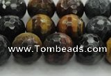 CTE1474 15.5 inches 12mm faceted round mixed tiger eye beads