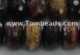 CTE1486 15.5 inches 12*18mm faceted rondelle mixed tiger eye beads
