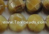 CTE1541 15.5 inches 20mm faceted coin golden tiger eye beads