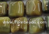 CTE1566 15.5 inches 16*16mm square golden & blue tiger eye beads wholesale