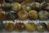 CTE1572 15.5 inches 8mm faceted coin golden & blue tiger eye beads