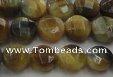 CTE1573 15.5 inches 10mm faceted coin golden & blue tiger eye beads
