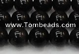CTE1604 15.5 inches 12mm round AB grade black tiger eye beads