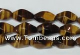 CTE171 15.5 inches 6*12mm twisted rice yellow tiger eye gemstone beads