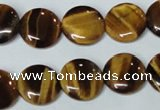 CTE177 15.5 inches 14mm flat round yellow tiger eye gemstone beads