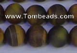 CTE1815 15.5 inches 14mm round matte yellow iron tiger beads