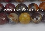 CTE1822 15.5 inches 12mm faceted round red iron tiger beads