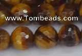 CTE1830 15.5 inches 12mm faceted round yellow tiger eye beads