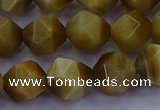 CTE1904 15.5 inches 12mm faceted nuggets golden tiger eye beads