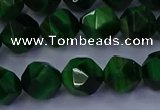 CTE1923 15.5 inches 10mm faceted nuggets green tiger eye beads