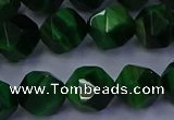 CTE1924 15.5 inches 12mm faceted nuggets green tiger eye beads
