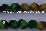 CTE1928 15.5 inches 10mm faceted nuggets colorful tiger eye beads