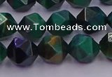 CTE1948 15.5 inches 10mm faceted nuggets green tiger eye beads