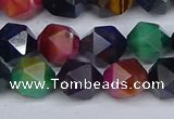 CTE1970 15.5 inches 8mm faceted nuggets mixed tiger eye beads
