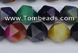 CTE1971 15.5 inches 10mm faceted nuggets mixed tiger eye beads