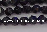 CTE1981 15.5 inches 6mm faceted nuggets blue tiger eye beads