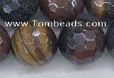 CTE2098 15.5 inches 16mm faceted round AB-color mixed tiger eye beads