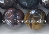 CTE2099 15.5 inches 18mm faceted round AB-color mixed tiger eye beads
