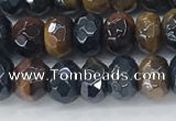 CTE2101 15.5 inches 4*6mm faceted rondelle AB-color mixed tiger eye beads