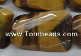 CTE320 25*35mm twisted & faceted rectangle yellow tiger eye beads