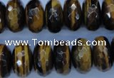CTE405 15.5 inches 10*18mm faceted rondelle yellow tiger eye beads