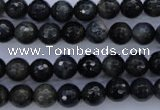 CTE442 15.5 inches 8mm faceted round blue tiger eye beads