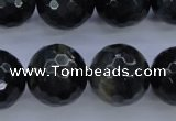 CTE447 15.5 inches 18mm faceted round blue tiger eye beads