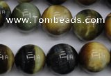 CTE557 15.5 inches 18mm round golden & blue tiger eye beads