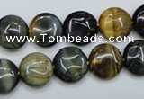 CTE561 15.5 inches 12mm flat round golden & blue tiger eye beads
