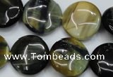 CTE564 15.5 inches 18mm flat round golden & blue tiger eye beads