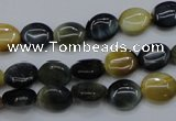 CTE568 15.5 inches 8*10mm oval golden & blue tiger eye beads