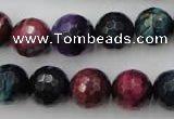 CTE584 15.5 inches 12mm faceted round colorful tiger eye beads