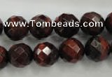 CTE705 15.5 inches 14mm faceted round red tiger eye beads