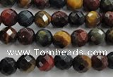 CTE711 15.5 inches 6mm faceted round mixed color tiger eye beads
