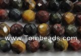 CTE712 15.5 inches 8mm faceted round mixed color tiger eye beads