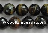 CTE726 15.5 inches 16mm faceted round yellow & blue tiger eye beads
