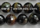CTE727 15.5 inches 18mm faceted round yellow & blue tiger eye beads