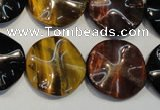 CTE806 15.5 inches 20mm wavy coin colorful tiger eye beads