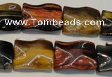 CTE810 15.5 inches 15*20mm wavy rectangle colorful tiger eye beads