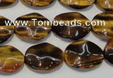 CTE830 15.5 inches 13*18mm wavy oval yellow tiger eye beads