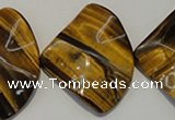 CTE845 15.5 inches 30*40mm wavy triangle yellow tiger eye beads