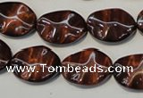 CTE858 15.5 inches 13*18mm wavy oval red tiger eye beads