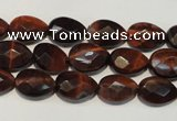 CTE881 15.5 inches 8*12mm faceted flat teardrop red tiger eye beads
