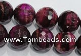CTE976 15.5 inches 16mm faceted round dyed red tiger eye beads