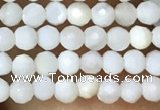 CTG1088 15.5 inches 2mm faceted round tiny mother of pearl beads