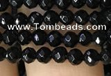 CTG1117 15.5 inches 3mm faceted round tiny black agate beads