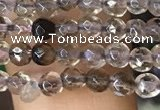 CTG1127 15.5 inches 3mm faceted round tiny smoky quartz beads